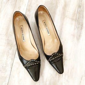 Manolo Blahnik Black Kitten Heels